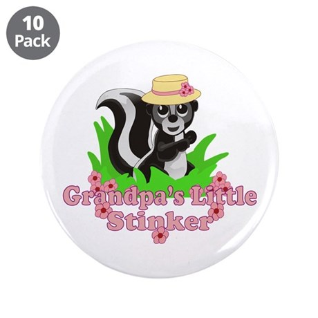 "Grandpa's Little Stinker Girl 3.5"" Button (10 pack"