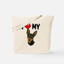 I Love My Min Pin Tote Bag