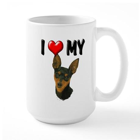 I Love My Min Pin Large Mug