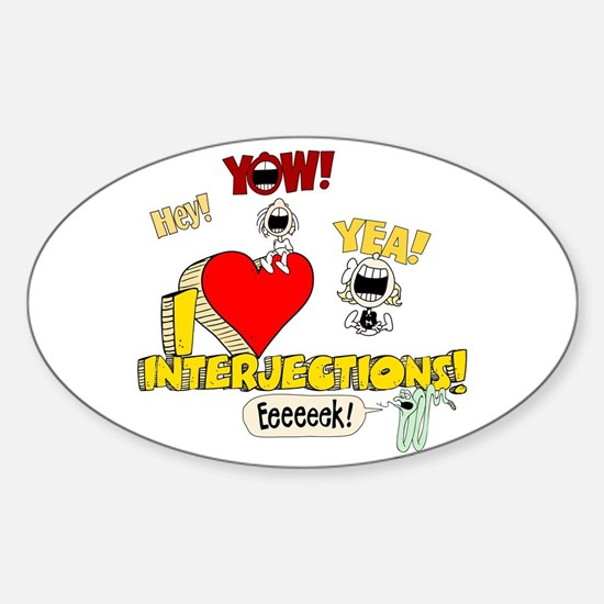 I Heart Interjections Sticker (Oval)