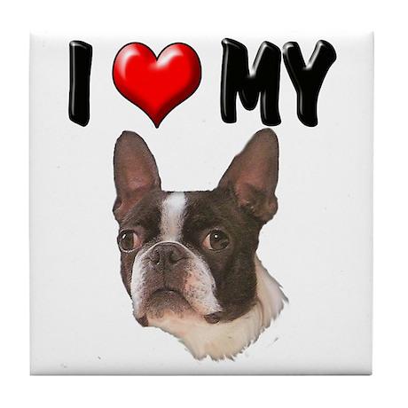 I Love My Boston Terrier Tile Coaster
