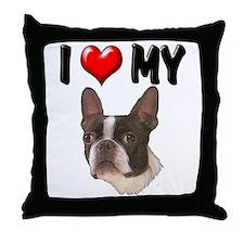 I Love My Boston Terrier Throw Pillow