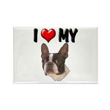 I Love My Boston Terrier Rectangle Magnet