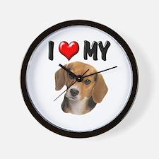 I Love My Beagle Wall Clock