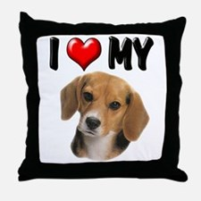 I Love My Beagle Throw Pillow