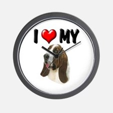 I Love My Basset Hound Wall Clock