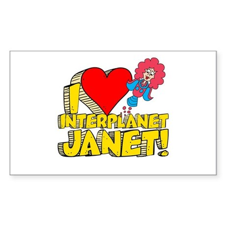 I Heart Interplanet Janet! Sticker (Rectangle)