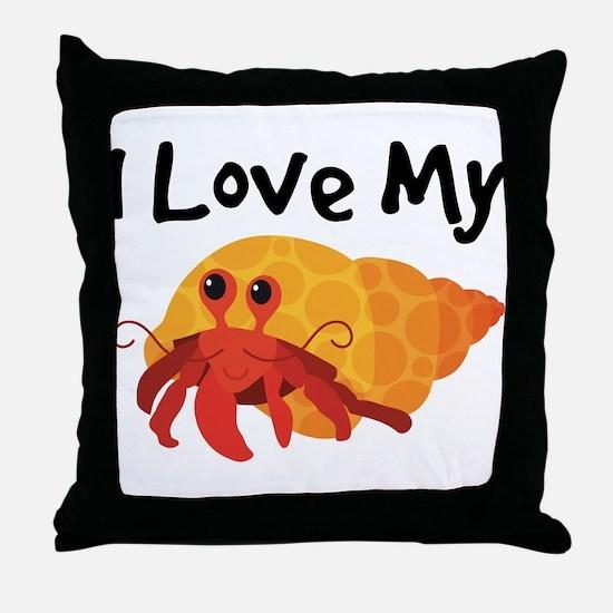 I Love My Hermit Crab Throw Pillow