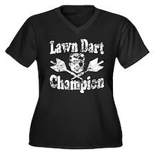 Lawn Dart Champion Women's Plus Size V-Neck Dark T