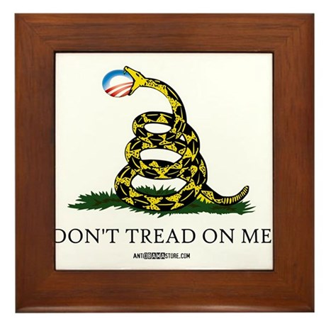 Anti-Obama Gadsden Flag Framed Tile