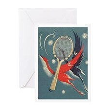 Art Nouveau Tennis Birds - Greeting Card
