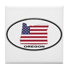 Oregon Shape USA Oval Tile Coaster