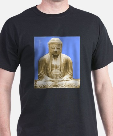 Buddha at Kamakura Black T-Shirt
