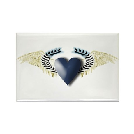 Blue Heart on White Wings Rectangle Magnet