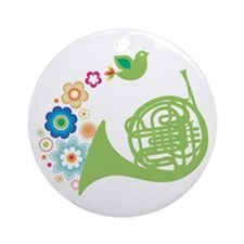 Retro Flower French Horn Ornament (Round)