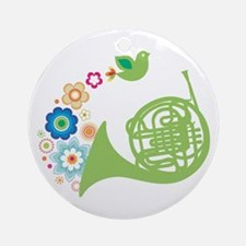 Retro Flower French Horn Ornament (Round)