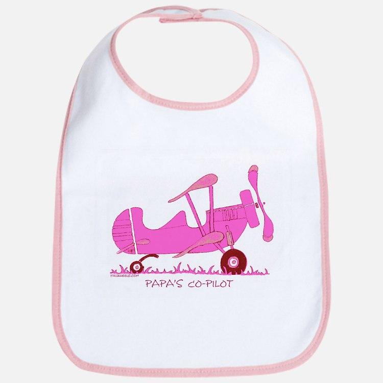 Papa's Co-Pilot Pink Bib