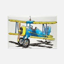 Blue Biplane Rectangle Magnet