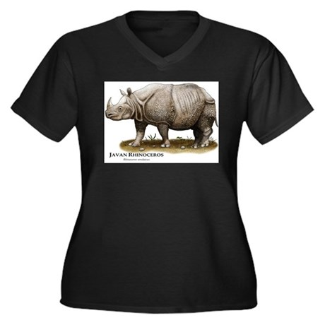 Javan Rhinoceros Women's Plus Size V-Neck Dark T-S