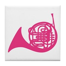 French Horn Silhouette Tile Coaster