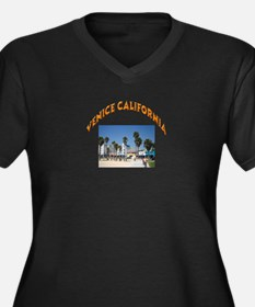 Venice California Women's Plus Size V-Neck Dark T-