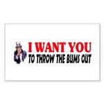 Throw The Bums Out Sticker (Rectangle 10 pk)