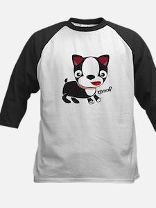 Boston Terrier Puppy -Woof Kids Baseball Jersey