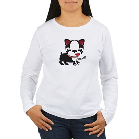 Boston Terrier Puppy -Woof Women's Long Sleeve T-S