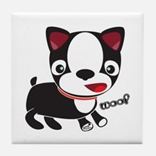 Boston Terrier Puppy -Woof Tile Coaster