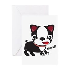 Boston Terrier Puppy -Woof Greeting Card