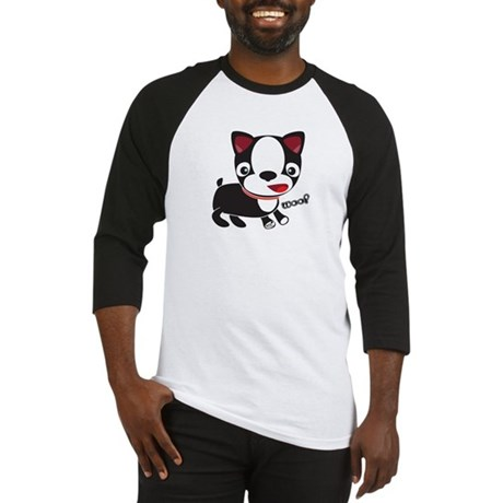 Boston Terrier Puppy -Woof Baseball Jersey