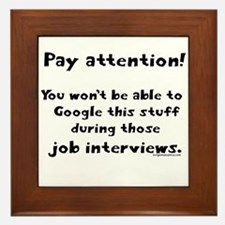 Pay attention funny teacher Framed Tile