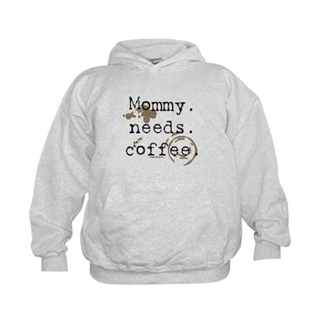 Mommy. Needs. Coffee (with stains) Kids Hoodie