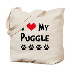 I Love My Puggle Tote Bag