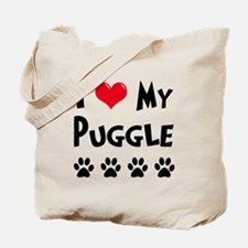 I Love My Puggle Tote Bag
