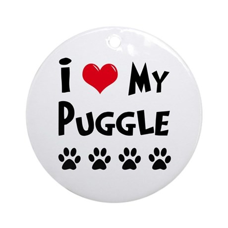 I Love My Puggle Ornament (Round)