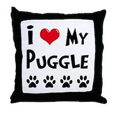 I Love My Puggle Throw Pillow