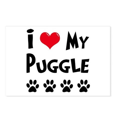 I Love My Puggle Postcards (Package of 8)
