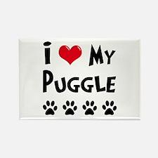 I Love My Puggle Rectangle Magnet (100 pack)
