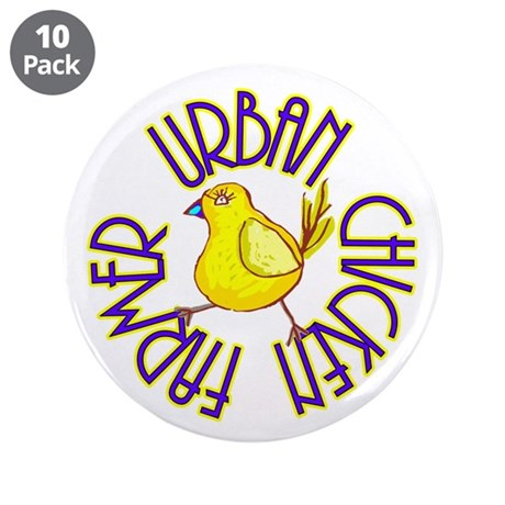 "Urban Chicken Farmer 3.5"" Button (10 pack)"