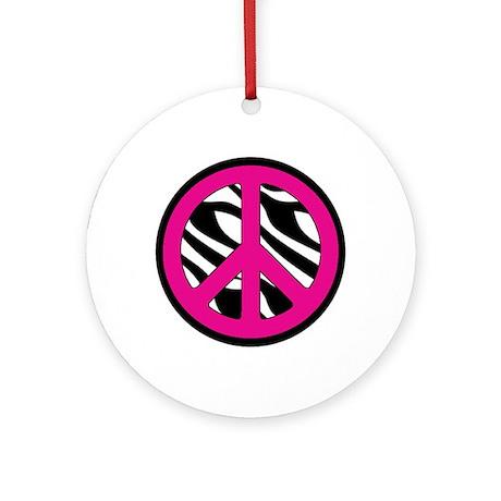 Pink Zebra Peace Symbol Ornament (Round)