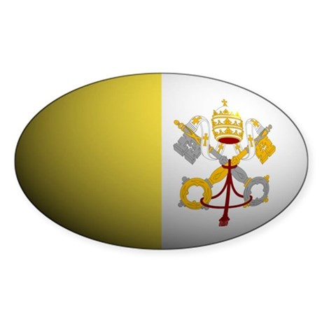 Vatican City banner rounded Oval Sticker