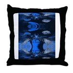 Mona Moose Blue Throw Pillow