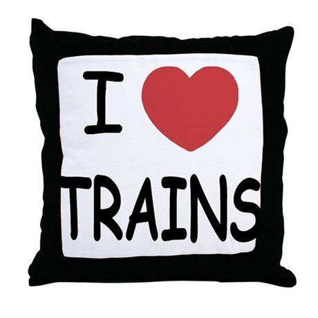 I heart trains Throw Pillow