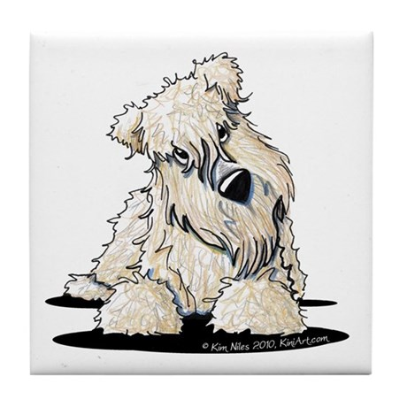Curious Wheaten Terrier Tile Coaster