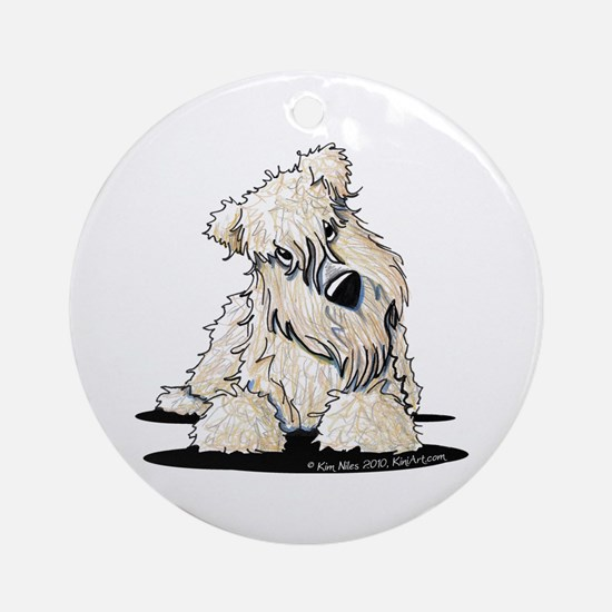 Curious Wheaten Terrier Ornament (Round)