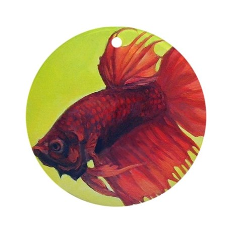 <b>Red Crowntail Betta</b> Ornament (Round)