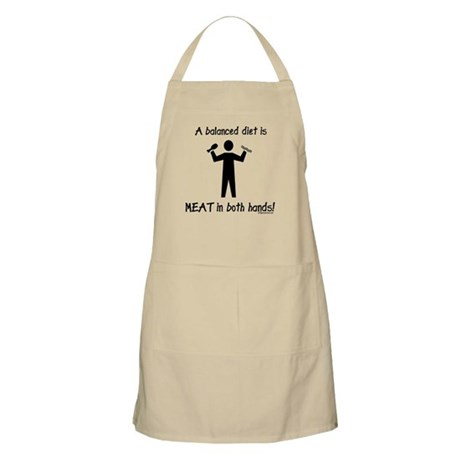 Meat in both hands balanced diet Apron