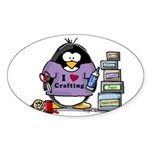 I love crafting penguin Sticker (Oval)