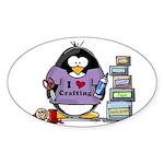 I love crafting penguin Sticker (Oval)
